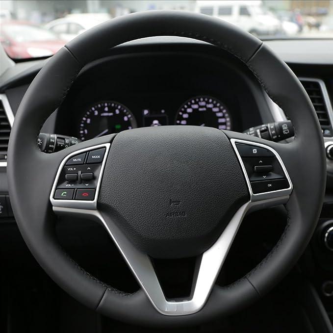 JIRENSHU 2 Teile//Satz Auto Lenkrad Pailletten Abdeckung Innendekoration Trim///ABS Chrom Zubeh/ör F/ür Hyundai Tucson 2015 2016 2017 2018
