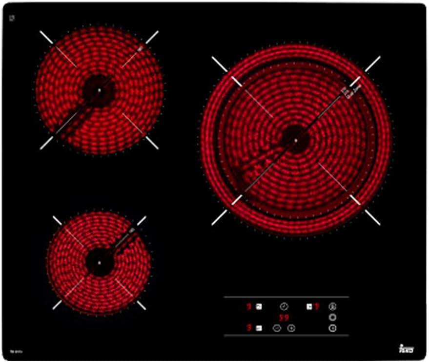 Teka TB6315 - Placa (Integrado, Ceramic hob, Vidrio, Front trim, Tocar) Negro, 60,5 x 51,5 x 6,3 cm