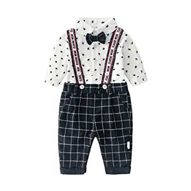 0212deec1 Baby Boys Gentleman Outfits Suits, Infant Long Sleeve Shirt+Bib Pants+Bow  Tie Overalls Clothes Set