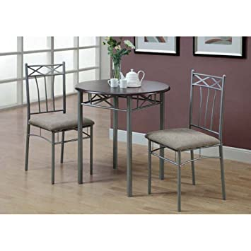 Amazoncom Monarch Specialties Cappuccino Finish Wood and Silver