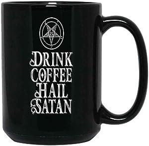 The Oracles Drink Coffee Hail Satan Coffee Mug for Satanic Satanist Satanism Ceramic (Black, 15 OZ)