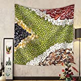 Gzhihine Custom tapestry Africa Flag Food on White Background - Fabric Wall Tapestry Home Decor