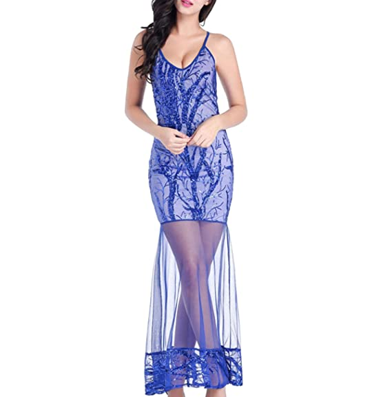 Sequan Tulle Women Girl Elegant Sexy Sleeveless Prom Banquet Wedding Birthday Dress Blue: Amazon.co.uk: Clothing