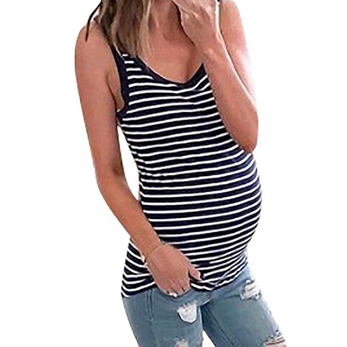 UNibelle Mutterschaft Basic Tank Top Mama Kleidung Hals Sleeveless Tops Frauen Solide Seite R/üschen Weste