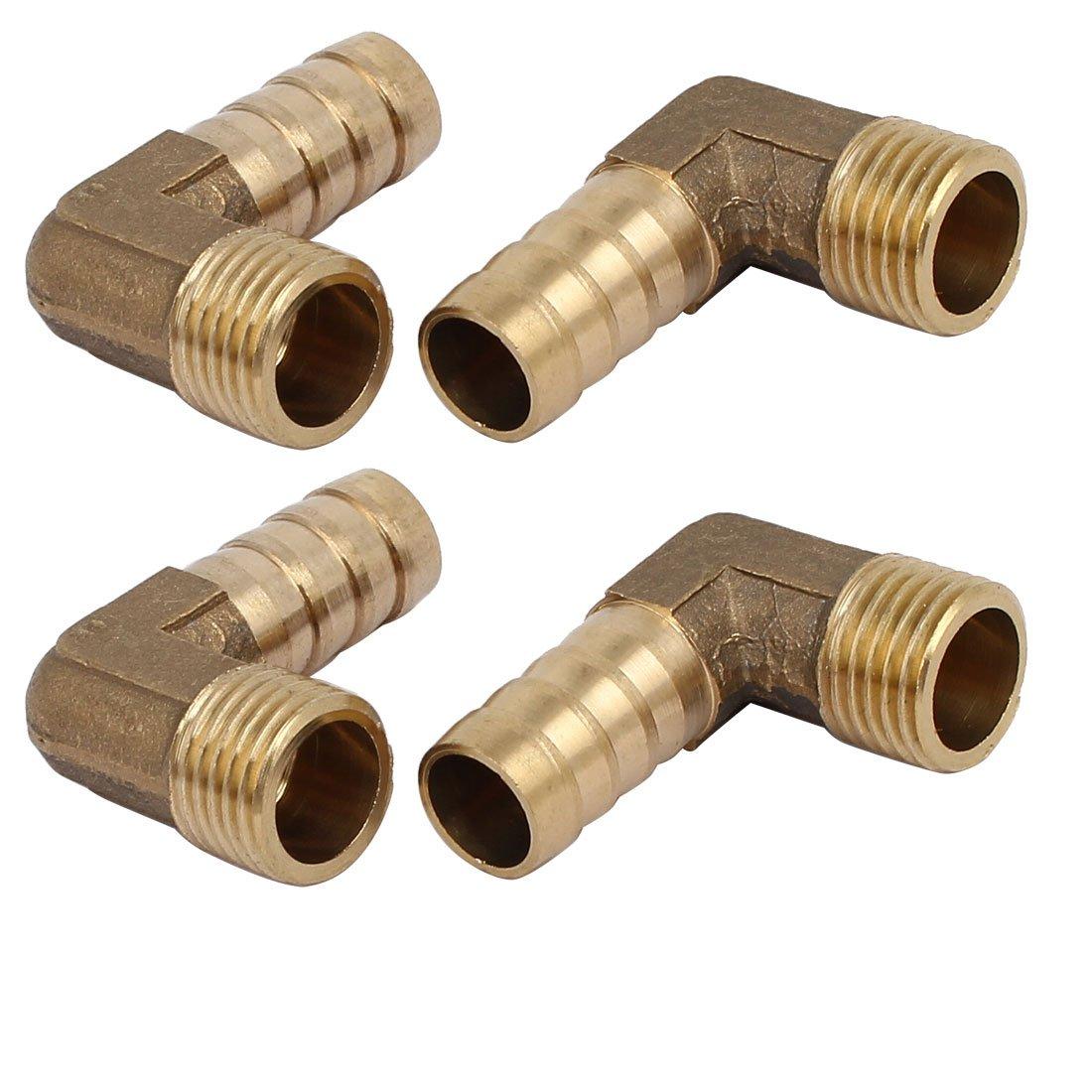1//4BSP Thread 12mm Tube Dia 90 Degree Brass Hose Barb Coupler Connector 2pcs