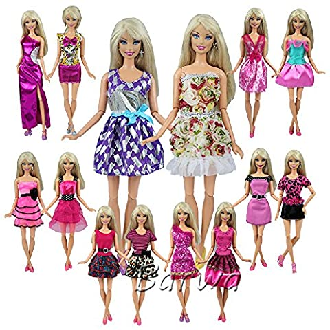Barwa Fashion Mini Dresses Clothes Outfits Sets Mix Styles and Color Random Pack of 12pcs for Barbie Doll