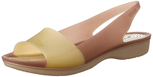 e360985c85c7 crocs Women s Colorblock Flat W Rubber Fashion Sandals  Buy Online ...