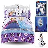 Disney Frozen Melt My Heart Reversible Full Size Comforter, Sheets, Pillow Cases, Olaf Pillow & Talking Olaf Night Light
