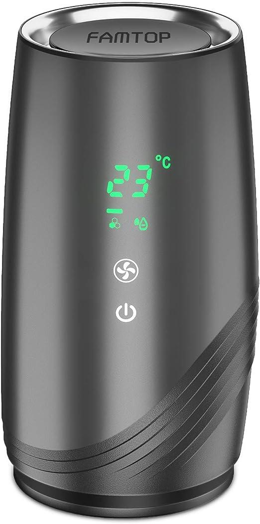 FAMTOP Purificador de Aire Portátile para Hogar con Filtro HEPA y Carbón Activado con 2 Velocidades de Ventilador, Filtración de 3 Etapas, Eliminar Alergias, Polen ...