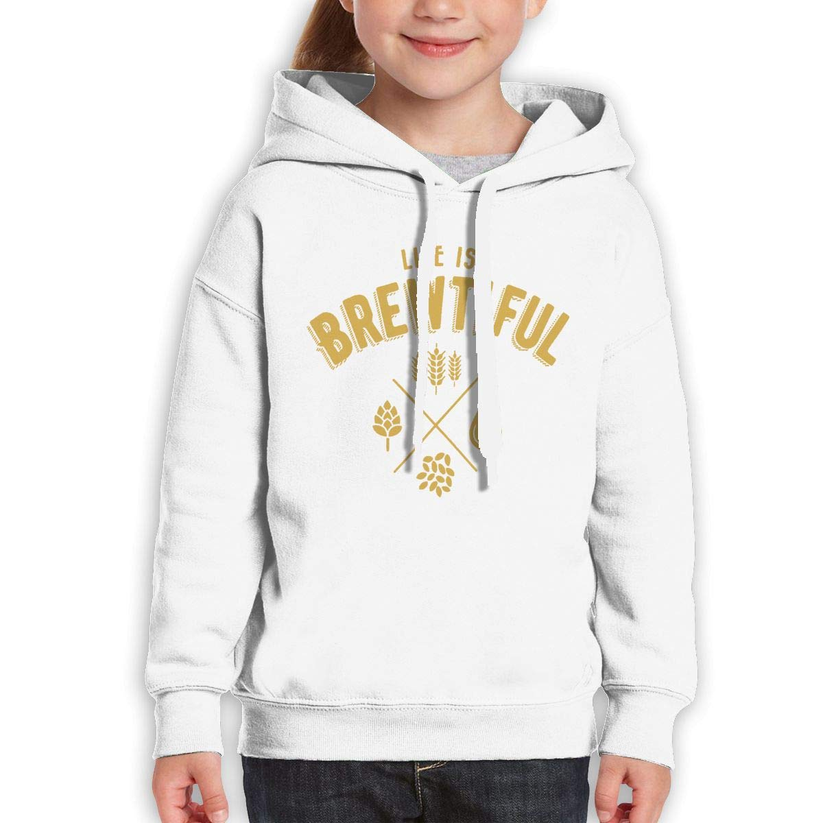 Boys Girls Life is Brewtiful Teen Youth Hoodie White S