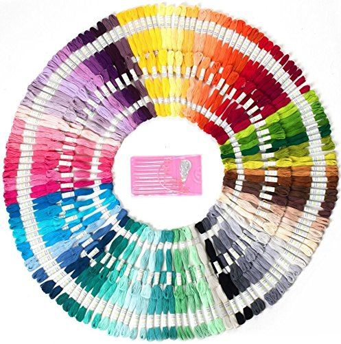 Mira HandCrafts 210 Embroidery Floss Skeins | Sewing Thread Mega Floss Pack | DMC Floss Colors | Friendship Bracelet String | Free Set of Embroidery Needles Miragoods