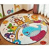 Casofu Cute Cartoon Animals Children Bedroom Carpet Living Dining Bathroom Mats for Baby Creeping Mat (Circle,47'',#02)