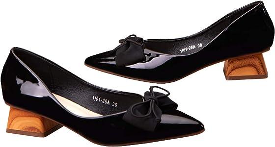 C.PARAVANO Womens Ballet Flats Square Toe Pumps Patent Leather Ballerina Mirror Heel Bow Shoes