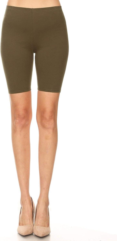 FashionJOA Activewear Solid Workout Cycling Yoga Running High Waist Pants Biker Shorts Titanium S