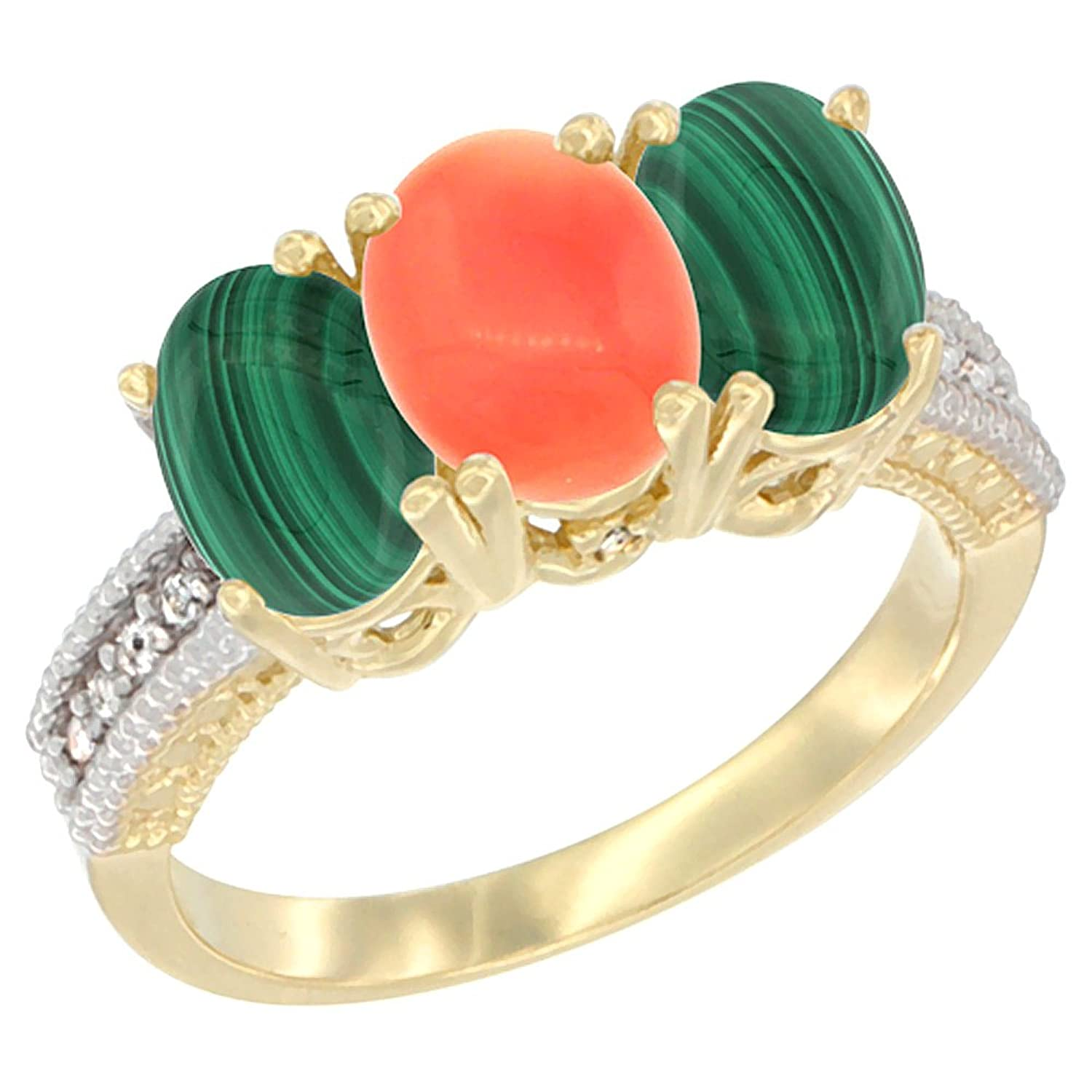 14K Yellow Gold Diamond Natural Coral & Malachite Ring 3-Stone 7×5 mm Oval, sizes 5 – 10