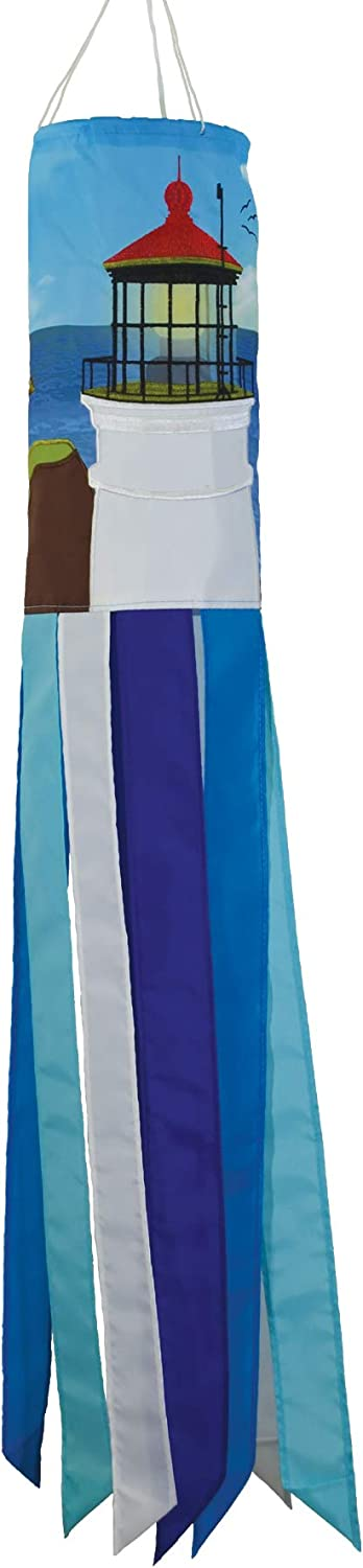 In the Breeze 5131 Lightouse 40-Inch Windsock-Colorful Outdoor Décor, Coastal Lighthouse