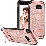 GUAGUA Galaxy A5 2017 Case Samsung A5 2017 Case Kickstand Girls Women Slim Dual Layer Hybrid Hard PC Cover Soft TPU Anti-scratch Shockproof Protective Phone Case for Samsung Galaxy A5 2017 Rose Gold
