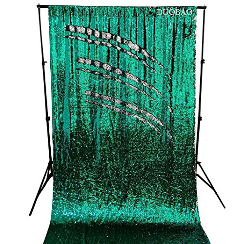 DUOBAO Sequin Curtains 2 Panels 96 Inches Silver Glitter Backdrop Curtain Green to Silver Reversible Sequin Backdrop for Photo Booth Mermaid Sequin Backdrop 4FTx8FT by DUOBAO (Image #6)