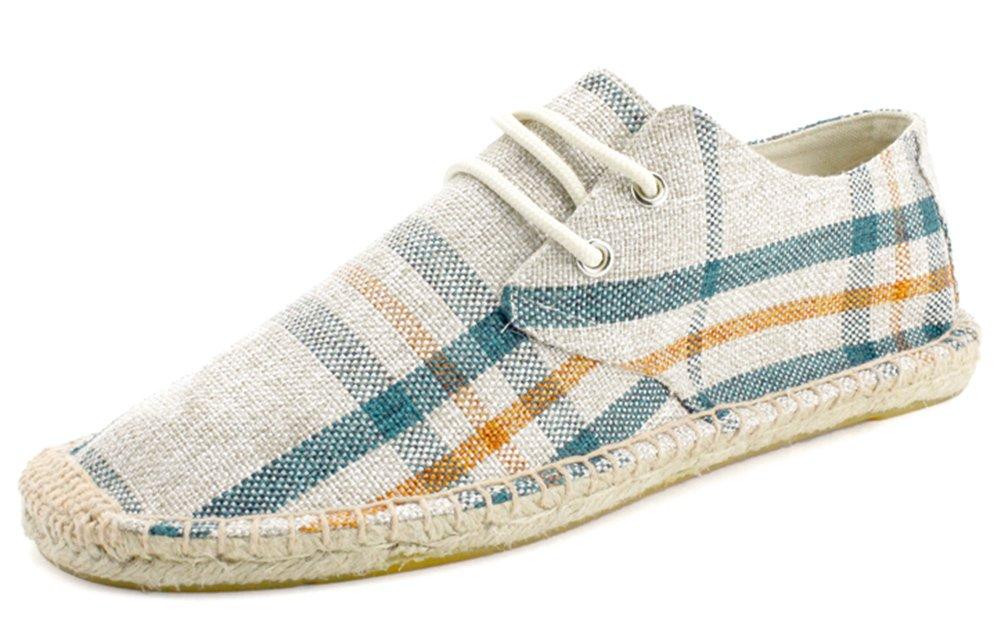 IDIFU Men's Breathable Plaid Flat Lace Up Espadrilles Canvas Sneakers (Beige, 10 D(M) US)