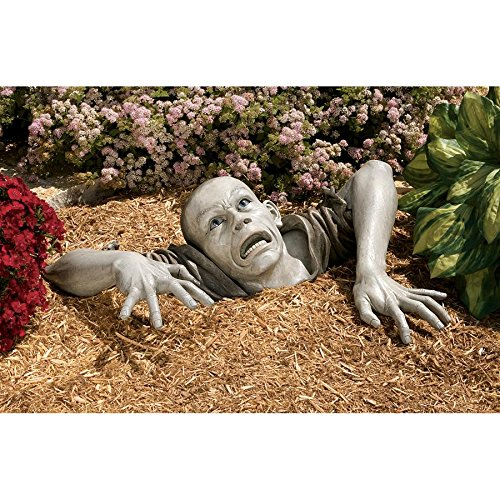 (Design Toscano The Zombie of Montclaire Moors Garden Statue Halloween Decoration, 31 Inch, Polyresin, Full)