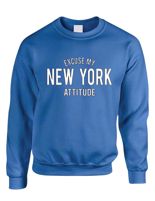 New Allntrends Adult Crewneck Excuse My New York Attitude Fun Cool Top