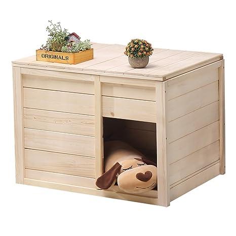 Lh Pet Cat Dog Nest Habitación de Caja de Madera Maciza Casa de Perro Cat Litter
