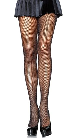 e32104e6f45f8 Spandex Seamless Glittery Fishnet Pantyhose - Gold or Silver 5 colors (Black /Gold)