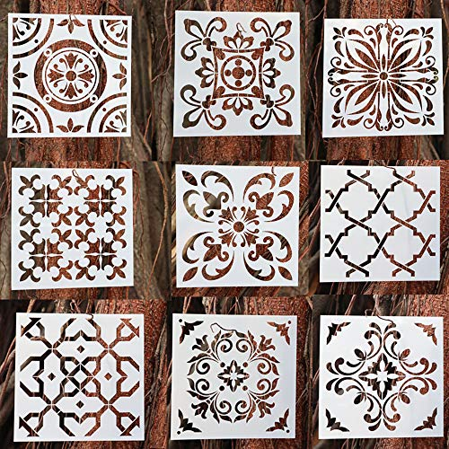 BAISDY Mandala Stencils - Mandala Wall Stencil for Painting (6X6 inch) - Reusable Stencils Art for Floor Furniture Wood and Home Decor (Style -