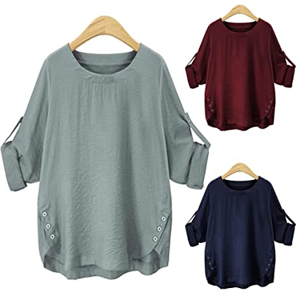 Amazon.com : Clearance Women Tops LuluZanm Casual Blouse Button Down Tops O Collar Loose Long Sleeve Shirt : Grocery & Gourmet Food