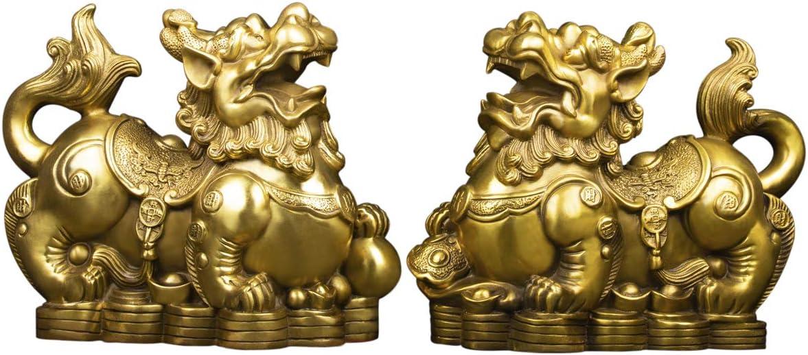 Amazon Com Handmade Brass Feng Shui Pi Yao Pi Xiu For Wealth Good Luck Figurine Collectible Home Decor Set Of 2 Home Kitchen