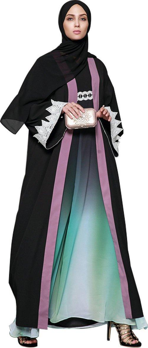 YI HENG MEI Women's Elegant Modest Muslim Clothing Full Length Open Front Chiffon Abaya Coat,Black