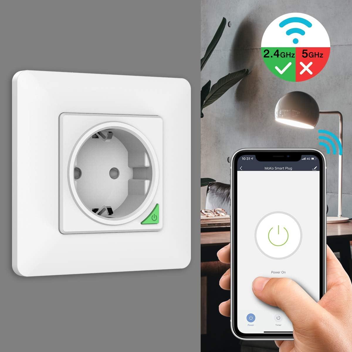 1 PACK Prise Murale Int/égr/ée Intelligente WIFI Compatible avec Alexa//Google Home//Siri Raccourcis Commande Vocale T/él/écommande APP 16A MoKo WiFi Smart Prise Intelligente WiFi
