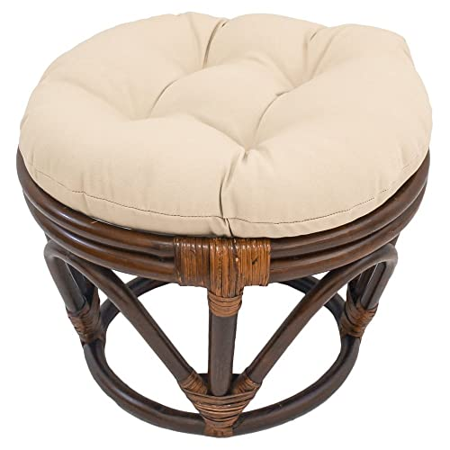 International Caravan Furniture Piece Rattan Footstool with Twill Cushion
