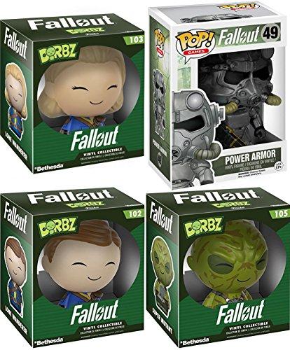 Funko Pop Fallout Power Armor #49 Set Games Dorbz Lone Male Wanderer Action Figure #102 & Female 103 + Super Mutant #105 4-Pack