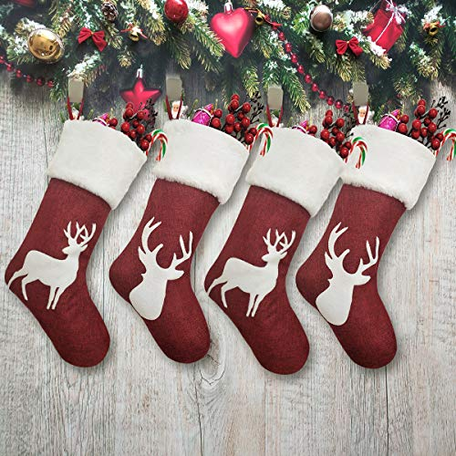 Vanteriam 19 inch Large Christmas Stockings 4 Pack, Red Burlap Christmas Stockings with Reindeer and Plush Faux Fur Cuff for Family Holiday Xmas Party Decorations