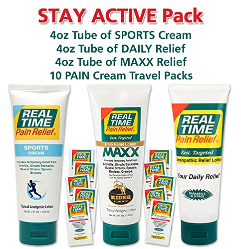 Real Time Pain Relief Stay Active Pack, Sports Cream, Daily Relief, MAXX Relief, 10 Pain Cream Travel Packs by Real Time Pain Relief (Image #2)