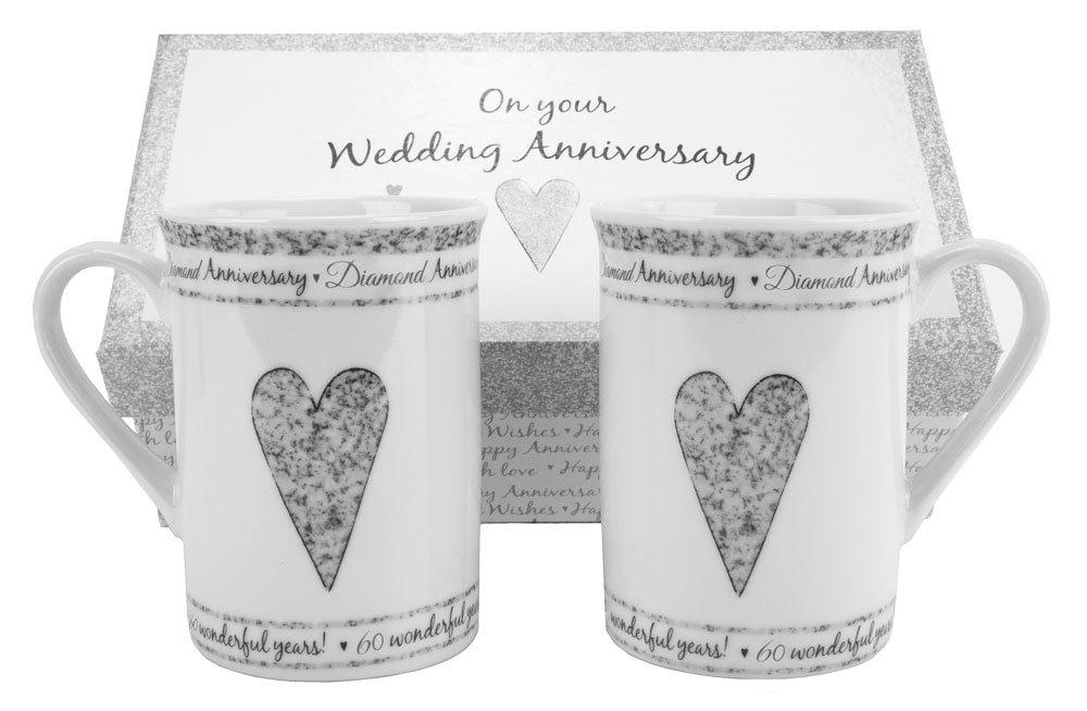 60th Diamond Wedding Anniversary Gift Set Ceramic Mugs By Haysoms