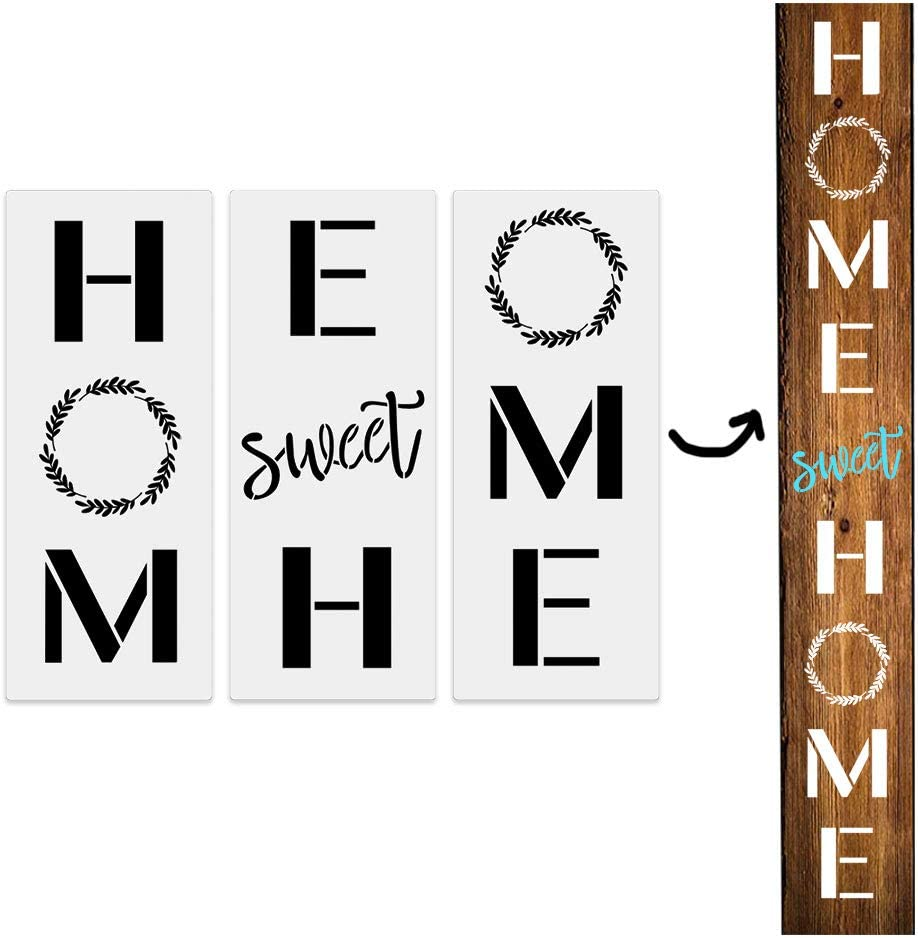 3Pcs Home Sweet Home Large Vertical Stencils for Porch Sign, Reusable Front Door Sign Stencil,Sturdy and Durable Kit Craft Art Painting Spray, Wood, Airbrush,Chalk.