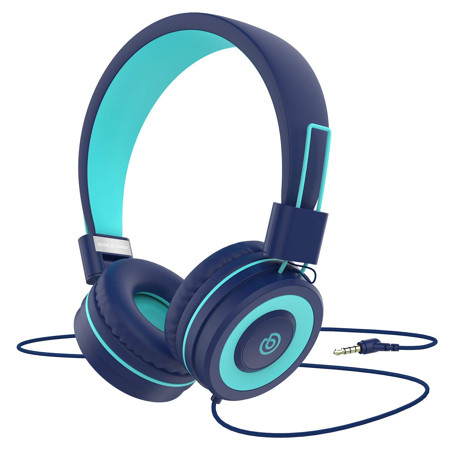 Kids Headphones Besom i66 for Boys Girls Teens Children Toddler Volume Limited Adjustable Foldable Tangle-Free Cord 3.5mm Jack Wired Over-Ear Headset for iPad iPhone Computer MP3/4 Kindle Tablet(Blue)