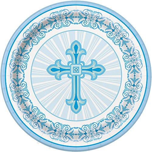 Radiant Cross Blue Religious Dessert Plates, 8ct