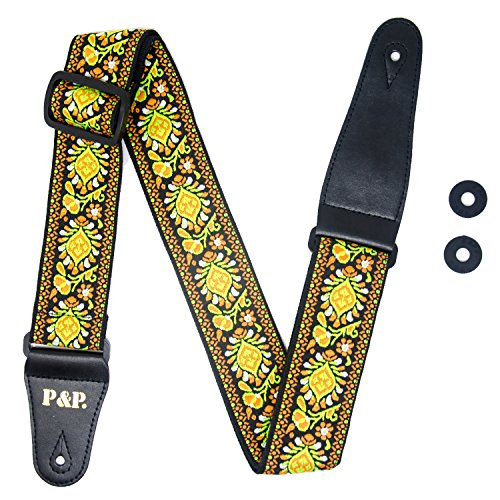 "COOME Guitar Strap 2"" Jacquard Weave Adjustable Strap Kit wi"