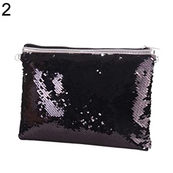 24e4b14d8c404 Amazon.com : Handbag for Women, Glitter Reversible Sequins Lady Fashion  Clutch Slim Strap Crossbody Shoulder Bag - Black + Silver : Beauty