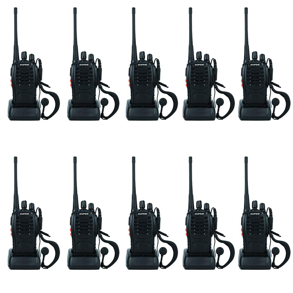BaoFeng Two Way Radio BF-888S 1500mAh 16 Channel Handheld Walkie Talkie Black (10 Pack) by BAOFENG