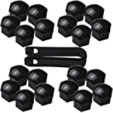 FiveEyes 17MM Wheel Lug Nut Covers Bolt Caps for Audi BMW Mercedes with Removal Tool 20PCS (Black)