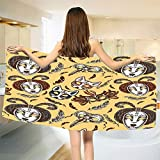 smallbeefly Masquerade Bath Towel Venetian Style Paper Mache Face Mask with Feathers Dance Event Theme Customized Bath Towels Mustard Brown White Size: W 19.5'' x L 39.8''