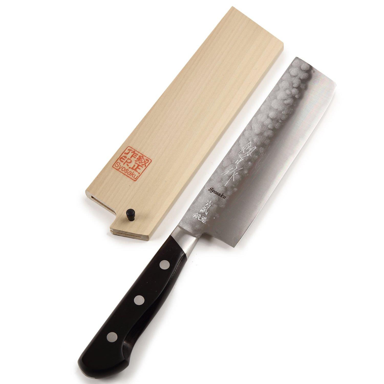 Syosaku Japanese Vegetable Knife Aoko(Blue Steel)-No.2 Black Pakkawood Handle, Nakiri 6.5-inch (160mm) with Magnoila Wood Saya Cover