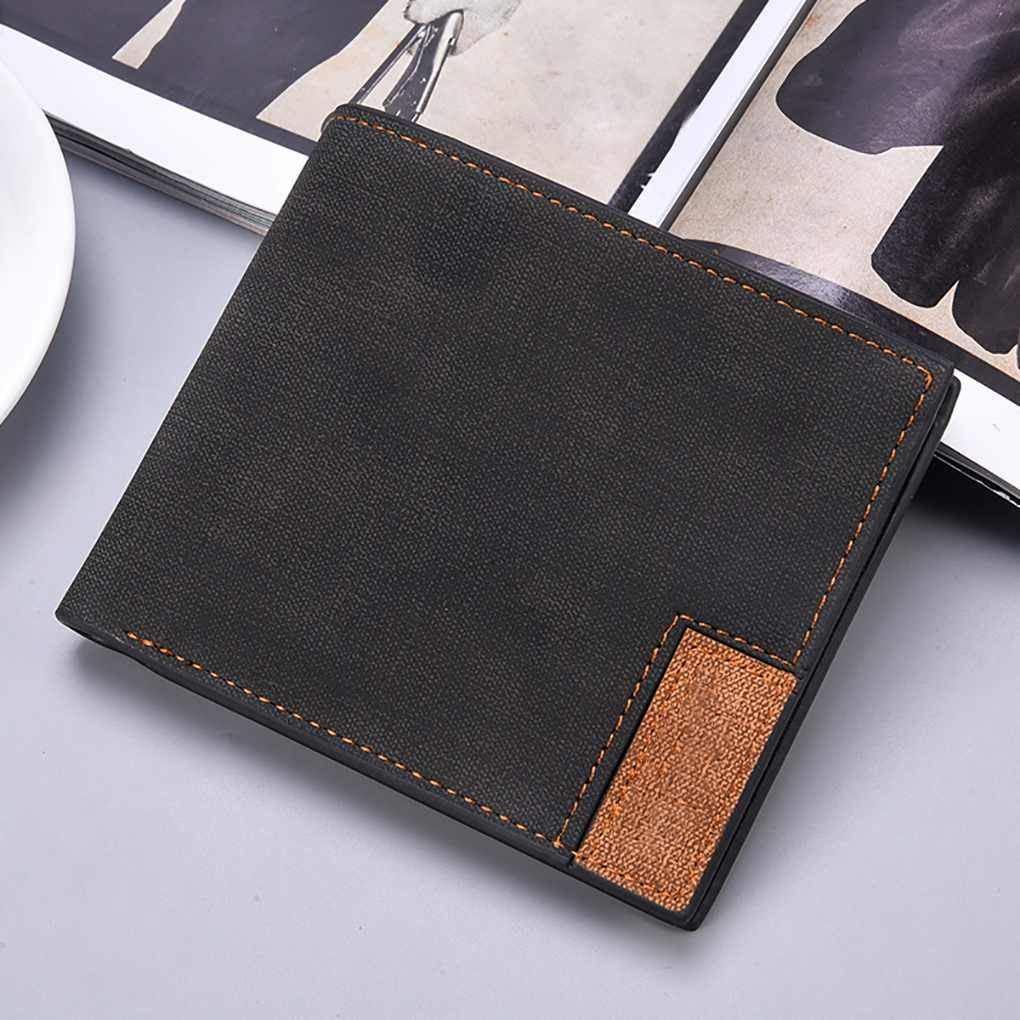 Men Ultra-thin Short Two Fold Wallet Male Large Capacity PU Leather Credit Card Holder Coin Money Bag Purse