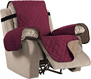 "Reversible Recliner Cover Recliner Slipcover Recliner Furniture Protector 2"" Elastic Strap Slip Resistant Water Repellent Slipcover Seat Width Up to 22"" (Recliner, Burgundy/Tan)"