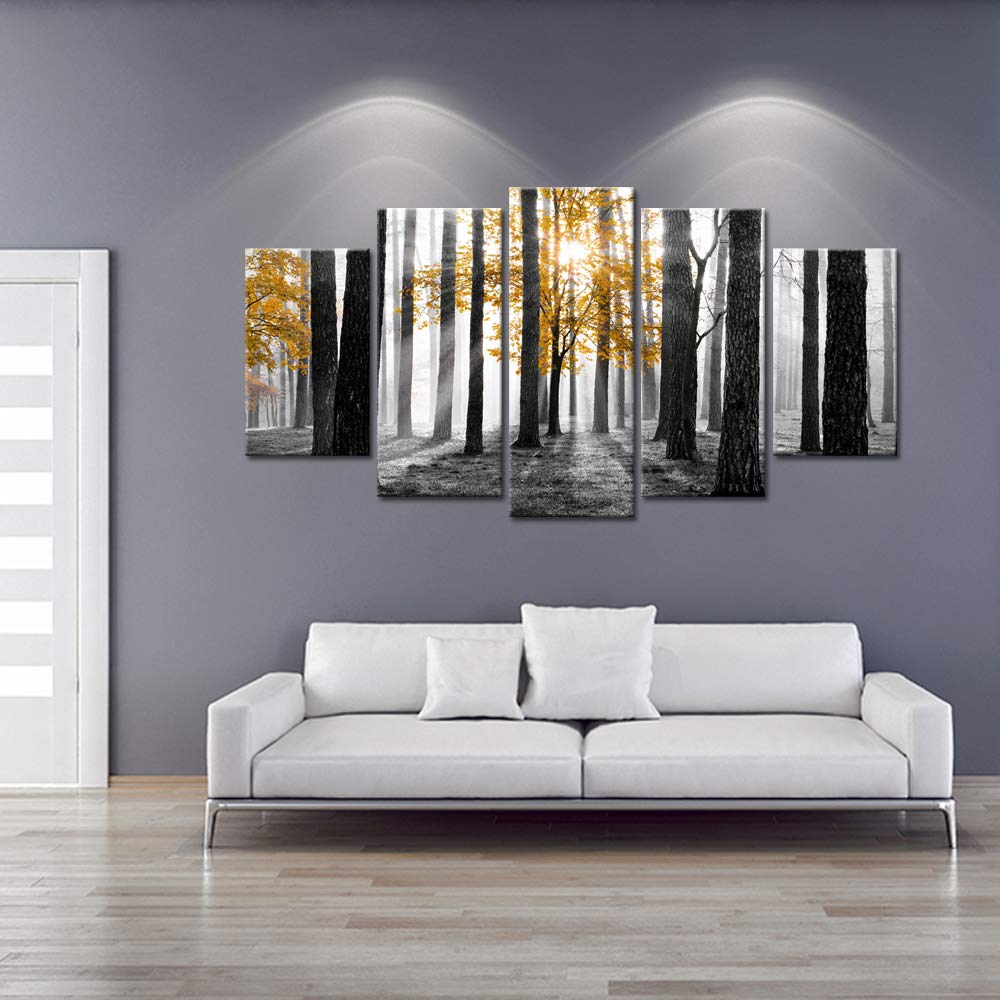 Visual Art Decor Large 5 Pieces Canvas Prints Yellow Tree in Black and White Sunshine Foggy Forest Picture Artwork Framed and Stretched Ready to Hang Modern Home Room Decoration L-60 XH-32 04 Forest Xiamen Visual Beauty VA181008-3