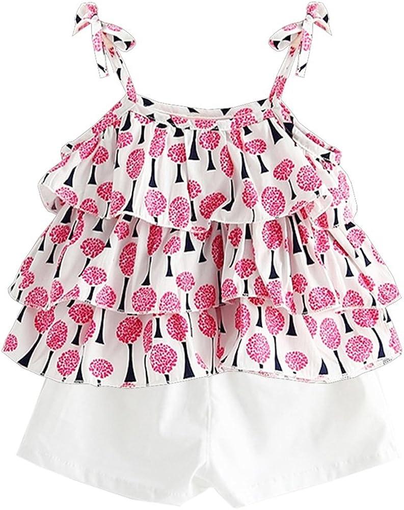 Shorts 2 Pcs Clothing Sets BOBORA Baby Girl Floral Ruffled Vest Tops T-Shirts